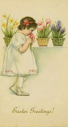 Easter Postcard. Vintage Easter Card suzilove.com