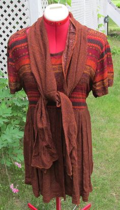 upcycled dress & scarf brown aztec tribal sz M by paintallday