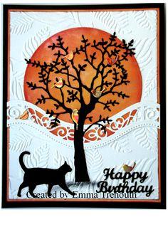 Happy birthday, memory box tree, cat & birds die Homemade Birthday Cards, Homemade Cards, Halloween Cards, Fall Halloween, Memory Box Dies, Die Cut Cards, Cat Cards, Autumn Theme, Ink Painting