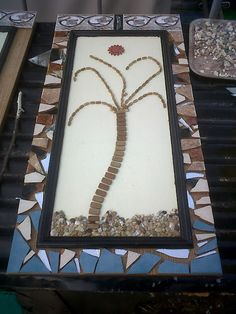 Mosaic Tile Shutters made from old cupboard doors. Idea submitted from a reader on my Trash to Treasure Decorating blog.