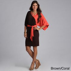 @Overstock.com - Biacci Women's Two-tone Dolman Sleeve Dress - Extra wide and relaxed dolman sleeves and a cute sash belt are the hallmark of this flirty and bold two-toned sleeve dress from Biacci. Available in two exciting color combinations, this feminine, colorful dress is sure to turn heads.   http://www.overstock.com/Clothing-Shoes/Biacci-Womens-Two-tone-Dolman-Sleeve-Dress/7972230/product.html?CID=214117 $46.99