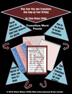 Transition Game to Amp up Writing  Bored with grammar classes?   https://www.teacherspayteachers.com/Product/Transition-Word-Puzzle-and-Tasks-2391990  Try these games and enjoy the fun that students have as they learn through play.