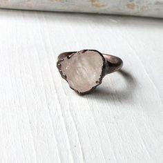 Morganite Copper Ring Pale Pink Peach Gem Stone Beryl Artisan Raw Gem Organic Oxidized For her. $68.50, via Etsy.