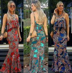 Vestido longo estampado de babado Unique Outfits, Trendy Outfits, Curvy Dress, Batik Dress, Suits For Women, Pretty Dresses, Plus Size Outfits, Dress Skirt, Designer Dresses
