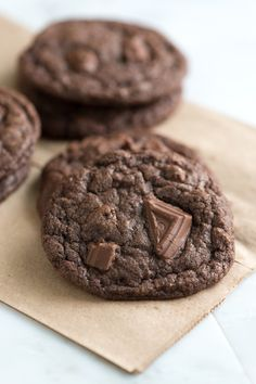 Chewy Double Chocolate Cookies Recipe. Just made these with pb chips. they were awesome!