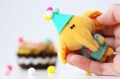 Tiny yellow elephant Teddy elephant  OOAK collectible artist