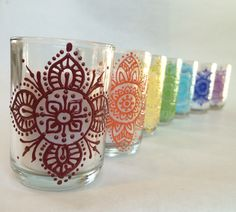 Henna Style Chakra Set Painted Glass Votives (with white candle)