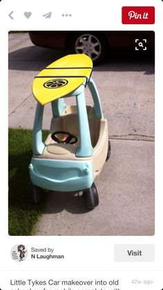 The Little Tikes Cozy Coupe is every kid's favorite but make your child's stick out with one of these DIY makeovers. Click through for inspiration. Happy Baby, Little Tykes Car, Toddler Toys, Kids Toys, Little Tikes Makeover, Cozy Coupe Makeover, Surfer Baby, Surfer Kids, Little Mac