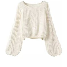 Puff Sleeve Cable Knit Sweater (735 THB) ❤ liked on Polyvore featuring tops, sweaters, white, white cable sweater, acrylic sweater, cable pullover, white long sleeve top и sweater pullover