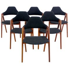 Rare Set of Six Danish Modern Teak Dining Chairs Designed by Kai Kristiansen | From a unique collection of antique and modern dining room chairs at https://www.1stdibs.com/furniture/seating/dining-room-chairs/