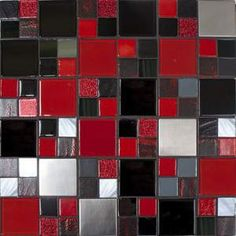 red, black, grey, white kitchen backsplash. Great around master bathroom mirror.