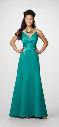 Alfred Angelo  STYLE 7170 BRIDESMAID DRESS  Full length, v-neck, a-line dress with spaghetti straps in Satin.  $165.00