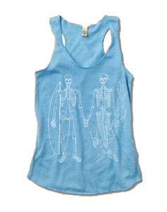 Womens SKELETON Mermaid and Surfer Tri Blend Tank by FreeBirdCloth, $18.00