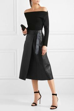 Dion Lee | Leather midi skirt | NET-A-PORTER.COM
