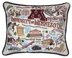 """This original design celebrates University of Minnesota. Go Gophers! This pillow is embroidered on a light tea-color cotton cover that zips off for cleaning and accented with black piping. 16x20""""..."""