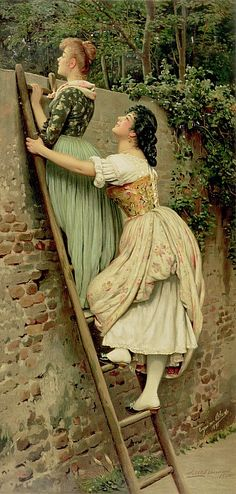 Curiosity By Eugene De Blaas No I Dont Get A Ladder And Look Over My Garden Wall Have Ha But Am Curious Very