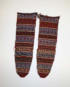 Socks  Date: 20th century Culture: Armenian Medium: wool Dimensions: Height: 9 3/4 in. (24.8 cm) Accession Number: 1981.307.3a, b - afterthought/pouch heel. Love how the designs are lined up. Flat-top heel.
