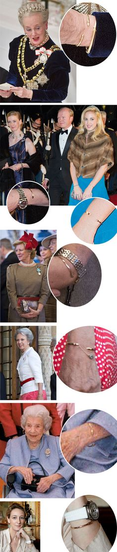 Billed Bladet-Members of the Danish and extended Danish families wearing the gold bracelet tradition started by Crown Princess Margaretha of Sweden; at the age of five each member receives a bracelet (and it is exchanged for a larger one as they get older); Queen Margrethe, Princess Nathalie, Princess Theodora, Queen Anne-Marie, Princess Benedikte, Queen Ingrid, Princess Alexandra.