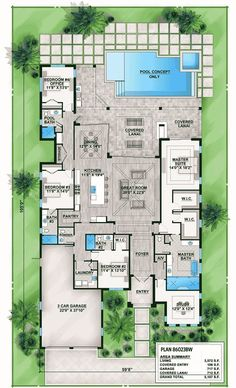 Florida House Plan with Indoor/Outdoor Living - 86023BW | 1st Floor Master Suite, Butler Walk-in Pantry, CAD Available, Den-Office-Library-Study, Florida, Luxury, PDF, Southern, Split Bedrooms | Architectural Designs