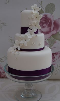 https://flic.kr/p/8Xog4q | Mini 3 Tier Wedding Cake | Mini wedding cake for the cutting cake to cupcake tower. Presented on a glass cake stand for oppulance. www.cakesbyoccasion.com