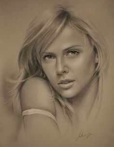 Celebrity Pencil Portraits - Charlize Theron