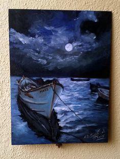 oleo sobre tabla 40*30 cm sin enmarcar  Las barcas en la noche7