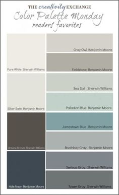 Readers' Favorite Paint Colors {Color Palette Monday} I hope you guys had a fantastic weekend and a great of July! This week for Color Palette Monday, I've pulled a palette together of readers' favorite paint colors from feedback over the last 12 week
