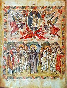 Miniatures of the 6th-century Rabula Gospel display the more abstract and symbolic nature of Byzantine art. -Byzantine Empire - Wikipedia
