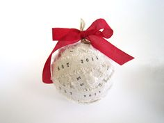 Handmade Personalized Wedding Ornaments - Personalize wedding ball gift red bow newly weds baby 1st Christmas diy wedding decor. $20.00, via Etsy.