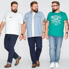 More workwear. The 2 on the left arent too bad for a casual office, the one on the right.no graphic tees in the office. Chubby Men Fashion, Mens Plus Size Fashion, Large Men Fashion, Mens Fashion Suits, Style Casual, Men Casual, Gq, Plus Size Men, Vetement Fashion
