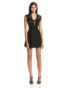 BCBGeneration Women's Lace Inset Dress, Black, 0