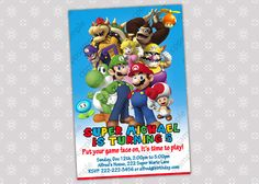 Super Mario Bros Birthday Party Invitation  by CreativePartyPixels, $5.50
