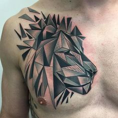 Geometric lion tattoo by David Mushaney. #geometric #abstract #tattooart #perfecttattoo