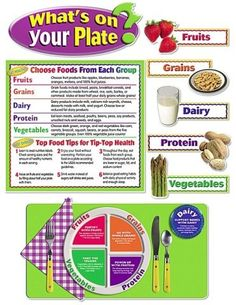 "What's on Your Plate? Bulletin Board, Encourage healthy eating habits by learning about food groups, nutrients, and portion sizes based on the ""MyPlate"" guidelines from the USDA."