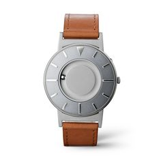 On theBradley Voyager Silver, silver mirrored markers shine against a silver-gray face around the markers that shows a hint of slate at various angles. Crafted from Italian leather and tailored by nylon stitching with ivory reverse, the cognac leather strap gives a polished presentation wherever you voyage.