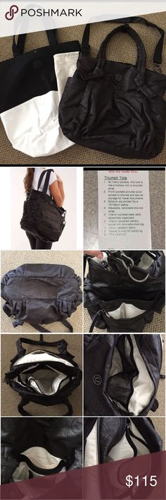 """Lululemon Triumph Tote Great condition Black Lululemon Triumph Tote.  Amazon bag! Pockets Galore! I am a bag addict and have owned two of these bags. I have only used this bag for probably the most 10 travel trips.   Measurements:  17"""" x 18.5"""" x 5"""" . Can hold up to 50lbs.  Can be used as a gym bag, school bag, travel bag, diaper bag, etc.  Cream shoe bag included.  Cross-Body Strap is included as well as Large Lululemon Store bag.  Pet/Smoke free home lululemon athletica Bags Totes"""
