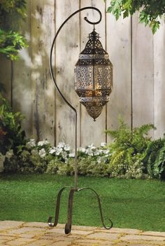 Moroccan Hanging Iron Lantern Candle Holder with Stand Lamp