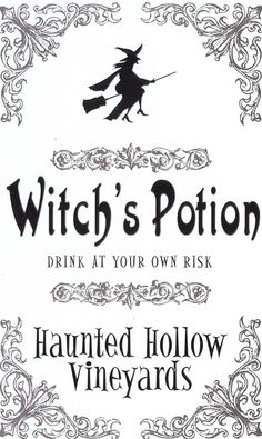 Potions: Witch's Drink at Your Own Risk. Halloween Potion Bottles, Halloween Apothecary, Halloween Labels, Halloween Cards, Holidays Halloween, Vintage Halloween, Halloween Fun, Halloween Printable, Halloween Witches