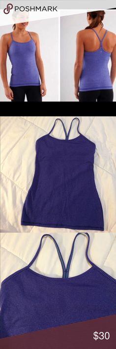 Lululemon Purple stripe power y top size 6 Very nice Lulelemon workout athletic top. Size 6! Small purple stripe pattern. lululemon athletica Tops Tank Tops