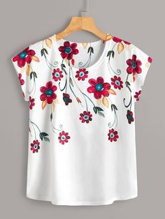 Spaghetti Strap Lace Panel Dress with Sequined T Shirt , Floral Style, Blouse Styles, Printed Tees, New Fashion, Floral Prints, Cute Outfits, My Style, Casual, Clothes