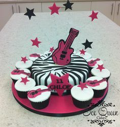 Leopard print guitar cake  cupcakes