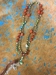 3 Angels Green And Orange Beaded Necklace With Cross Accent
