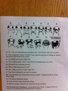 Pain scale we have in our ER break room. - Imgur