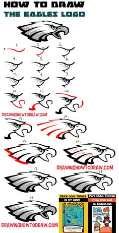 How to Draw the Eagle's Logo with Easy Step by Step Drawing Lesson for Beginners - How to Draw Step by Step Drawing Tutorials Drawing Skills, Drawing Lessons, Drawing Tips, Drawing Tutorials, Drawing Ideas, How To Draw Steps, Learn To Draw, Draw Logo, Stippling Art