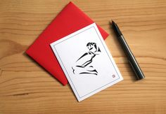 Lounging Art Card  Greeting Card  Invitation  Thank by Sabastica