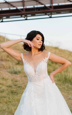 Romantic and Sexy Lace Wedding Dress with Modern Detail - Martina Liana Elegant Wedding Dress, Designer Wedding Dresses, Lace Wedding, Dream Wedding, Couture Wedding Gowns, Bridal Gowns, White Gowns, Bride Look, Ball Gowns