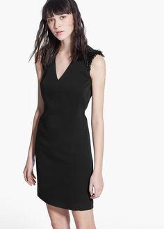 Beaded shoulder dress | MANGO