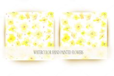Yellow watercolor paint flowers by sally123 on @creativemarket