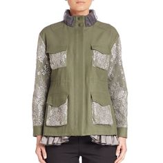 Leur Logette Lace-Embellished Military Jacket ($1,575) ❤ liked on Polyvore featuring outerwear, jackets, apparel & accessories, khaki green, floral jacket, green jacket, military jacket, green field jacket and green military jacket