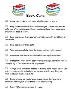 Book Care Rules Handout - hmmm.... hand this out with their books on the first day of checkout????? talk to PK